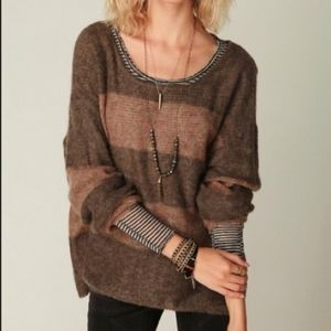 Free People Camel and Grey Striped Sweater Size M